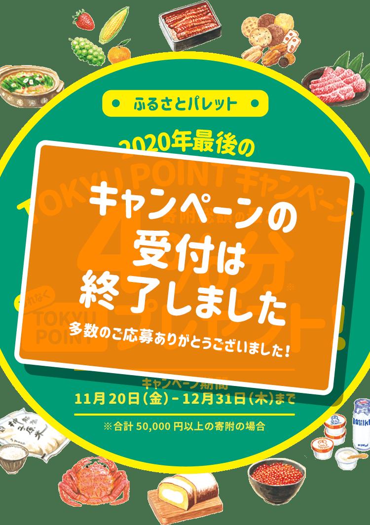 【キャンペーンの受付は終了しました】2020年最後のTOKYU POINTキャンペーン 寄付総額の最大4%分もれなくTOKYU POINTプレゼント!