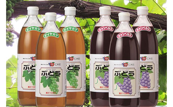 北海道仁木産ぶどうジュース飲み比べセット(キャンベルス、ナイヤガラ):6本