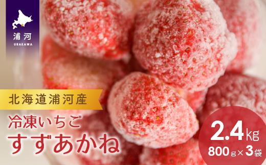 北海道浦河産 冷凍いちご 「すずあかね」2.4kg (800g×3P)[B13-149]