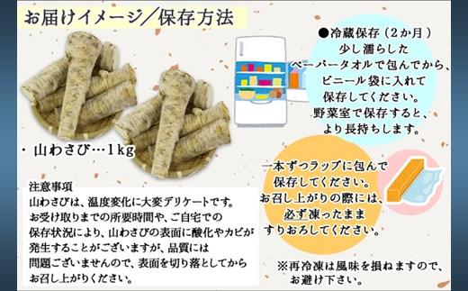 770.北海道 天然 山わさび 1kg前後 産地直送 弟子屈町 薬味 肉 BBQ バーベキュー 焼き肉