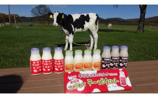 46.牛のおっぱいミルクセット?(牛のおっぱいミルク200ml×3本、牛のおっぱいコーヒーミルク200ml×3本、牛のおっぱいのむヨーグルト150ml×4本、摩周こだわりチーズタルト3個入×1箱)