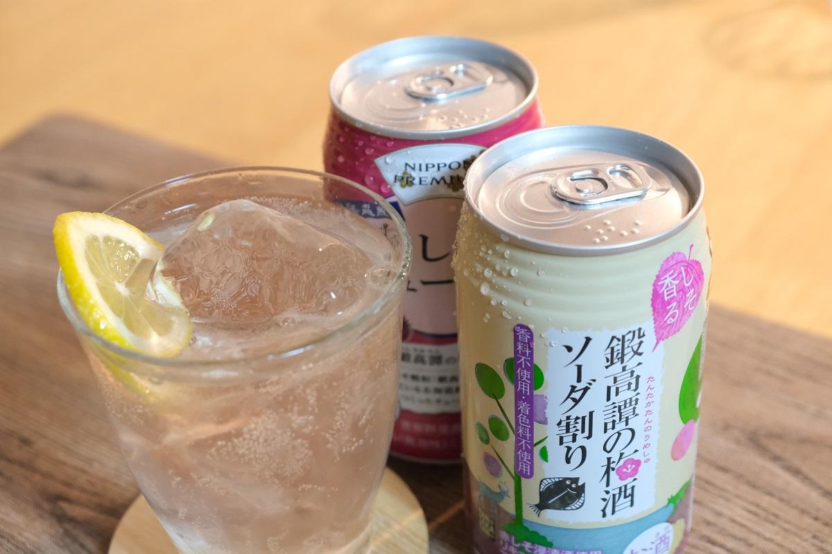 しそ焼酎 鍛高譚の梅酒ソーダ割と赤しそのチューハイ 飲み比べセット【350ml×12缶×2種】