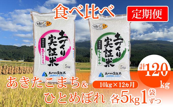 12ヵ月 定期便 米10kg(各5kg)×12回 あきたこまち&ひとめぼれ 食べ比べ 計120kg