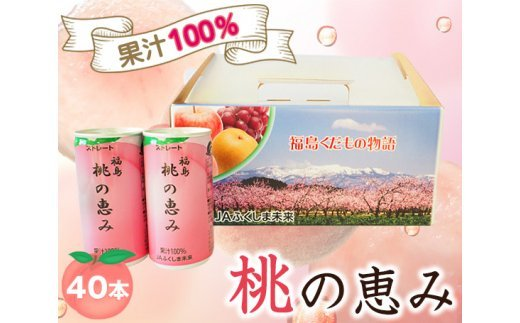 No.082 「福島桃の恵み」40本 果汁100%ジュース / モモジュース ストレート もも 福島県 特産品