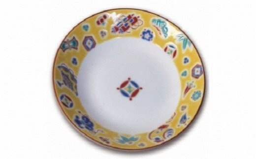 018007. 九谷焼八趣皿(5号)5枚セット ①黄交趾