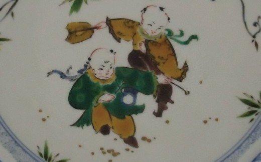 850001. 九谷焼「唐子遊び 飾り皿」山中國盛