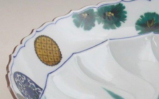 700003. 九谷焼「ゆり 深鉢」山中國盛