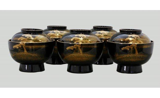 輪島塗 煮物椀(山水蒔絵)