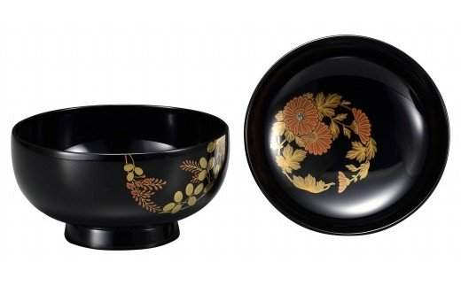 輪島塗 煮物椀(花の丸蒔絵、黒)
