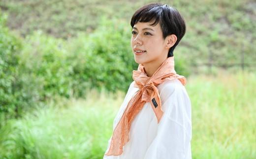 [L017] 能登上布万筋柄スカーフ【橙】 [RAMIE EPOCH]