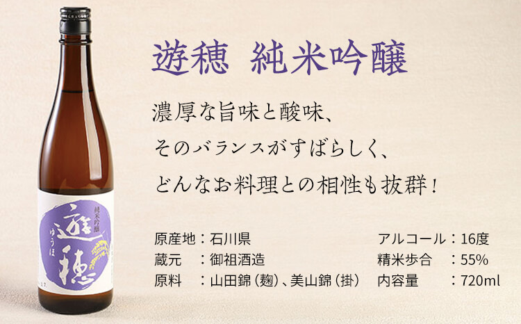 [F017] UFOの見える町から。地酒「遊穂」 純米吟醸酒・純米酒2本セット