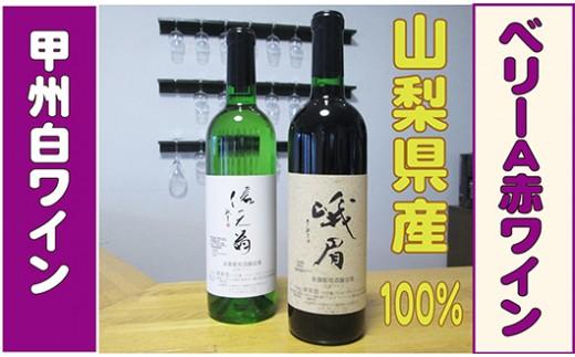 [5839-1185]【山梨県産100%】甲州白ワイン・ベーリーA赤ワインセット(信天翁・峨眉)