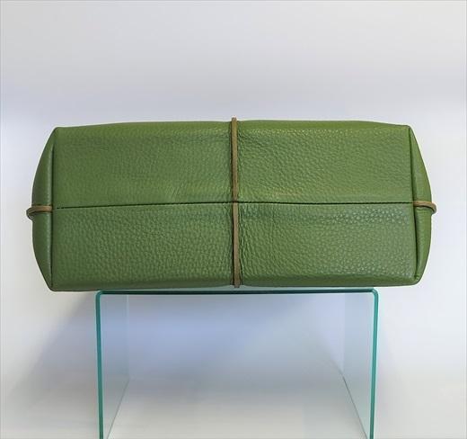 「鞄工房 香」センターライントートバッグ(グリーン)
