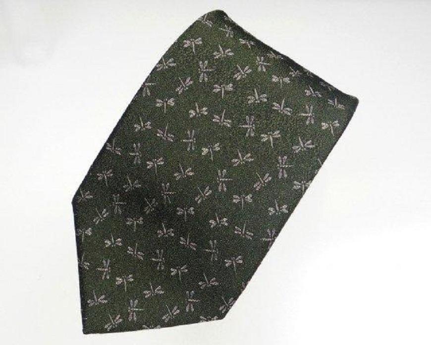 郡内織物「富士桜工房」シルクネクタイ とんぼ(勝虫) 苔色