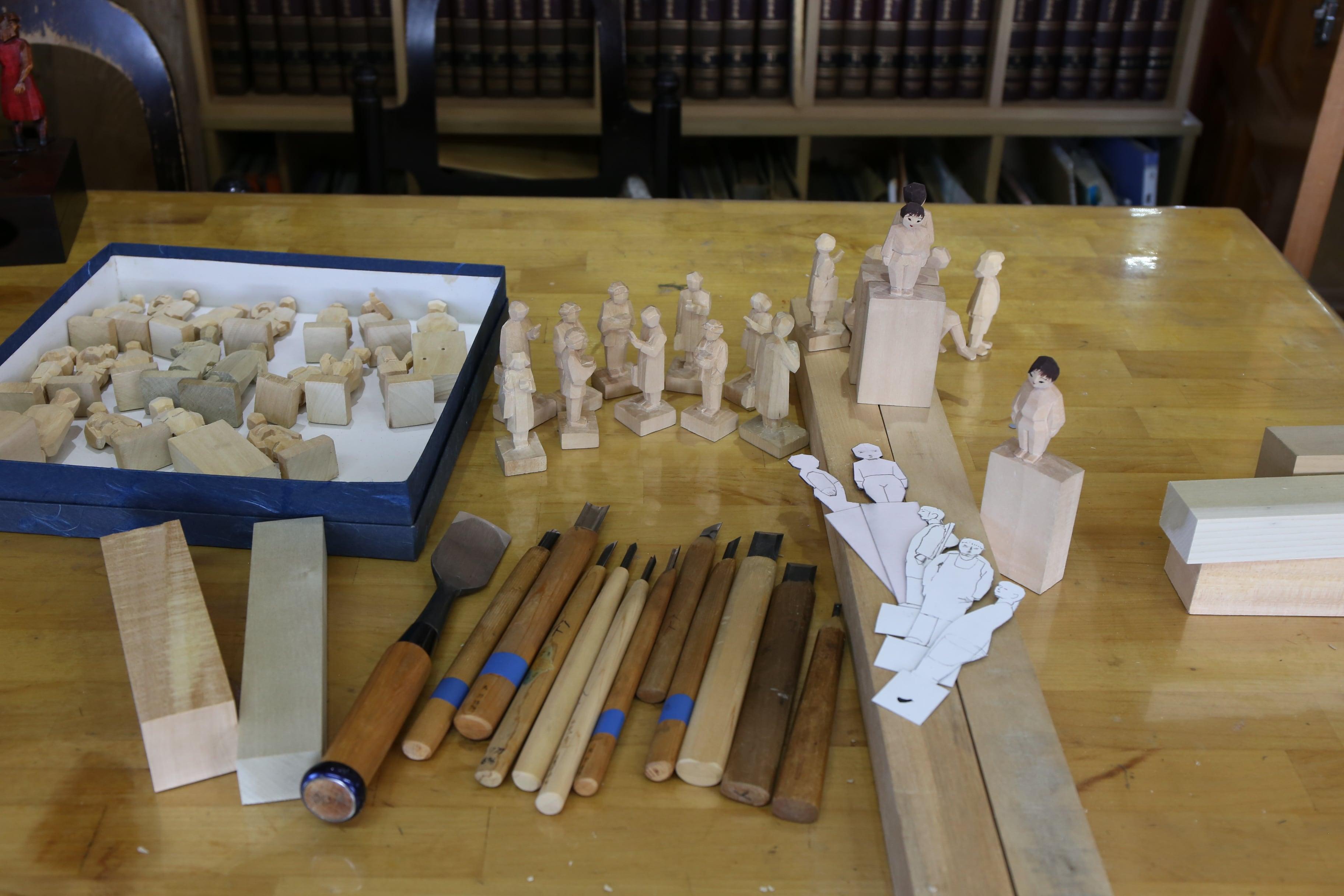 【112-001】お子様に!ペットに!上田市の伝統工芸・農民美術 木彫オリジナルこっぱ人形制作