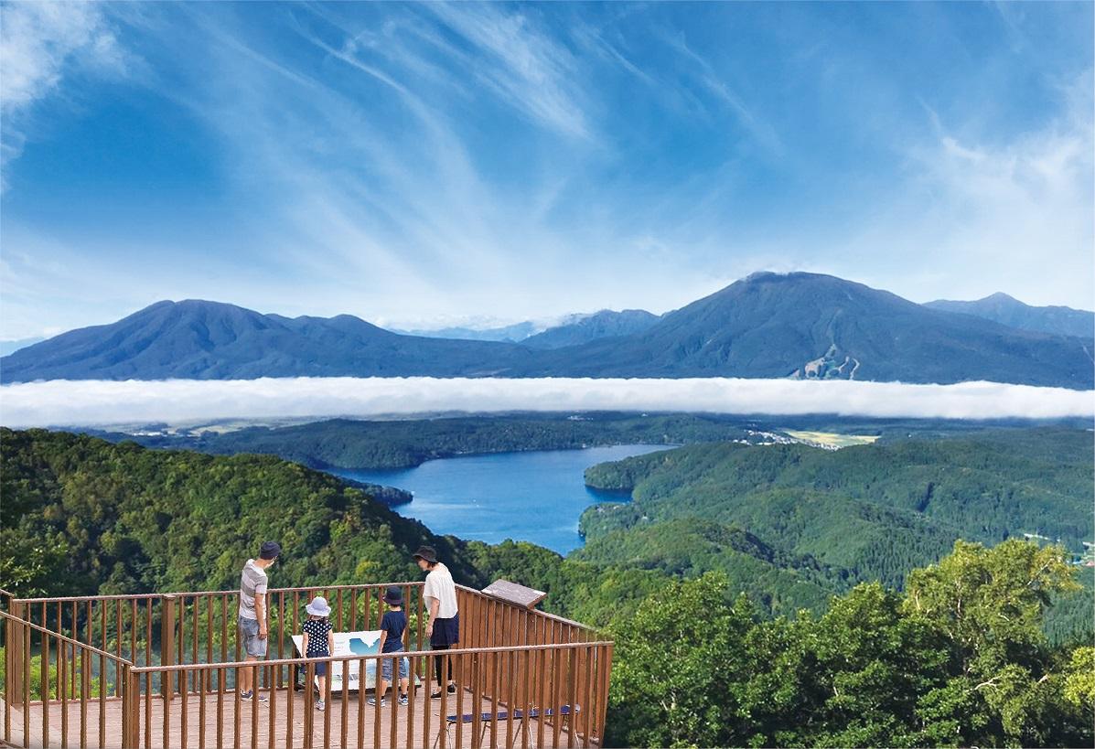 標高1,100mの野尻湖展望テラスからの絶景