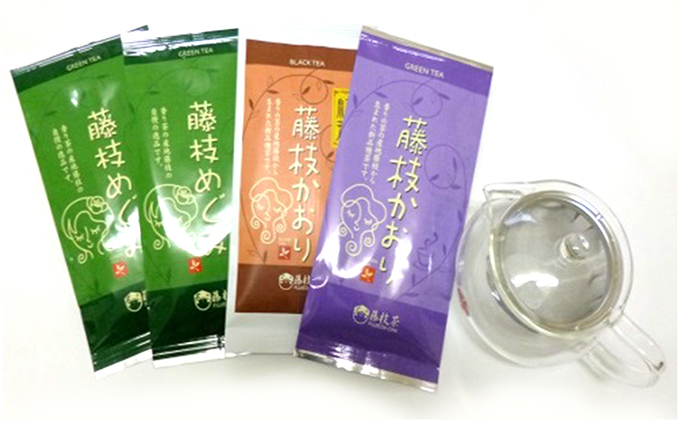 藤枝茶3種+急須のセット