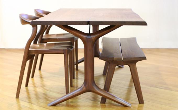 起立木工 ダイニングテーブル KAMUI ブラックウォールナット 幅200cm
