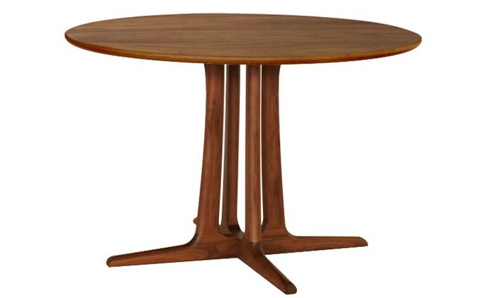 起立木工 円形ダイニングテーブル φ105cm 天板ウォールナット材・脚ウォールナット材