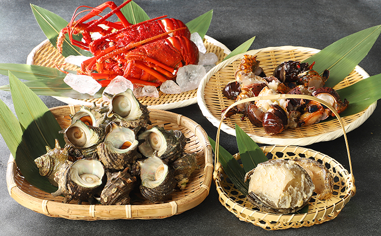 【辻水産】伊豆の海の贈りものセット(伊勢海老・あわび・さざえ)