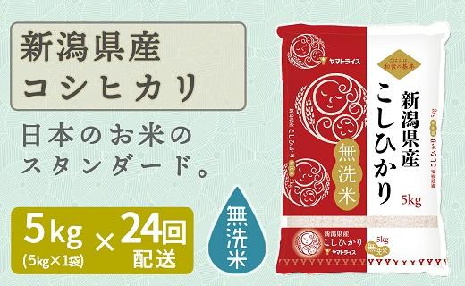 新潟県産コシヒカリ 無洗米 5kg ※24回定期便 安心安全なヤマトライス H074-231