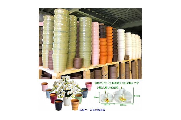 綺麗で丈夫な三河陶器で贈る 光触媒胡蝶蘭小輪3本立(サクラピンクの陶器×桃色の花) H100-030