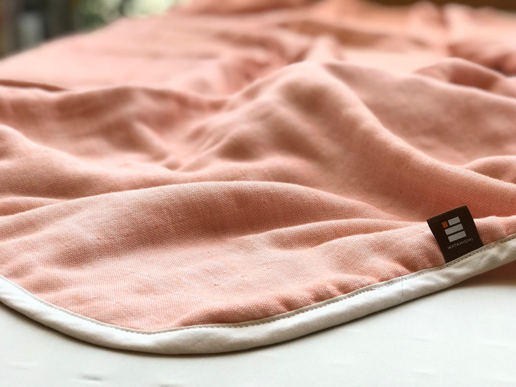 ふっくらやさしい三河木綿の5重ガーゼハーフケット(ピンク)H036-004