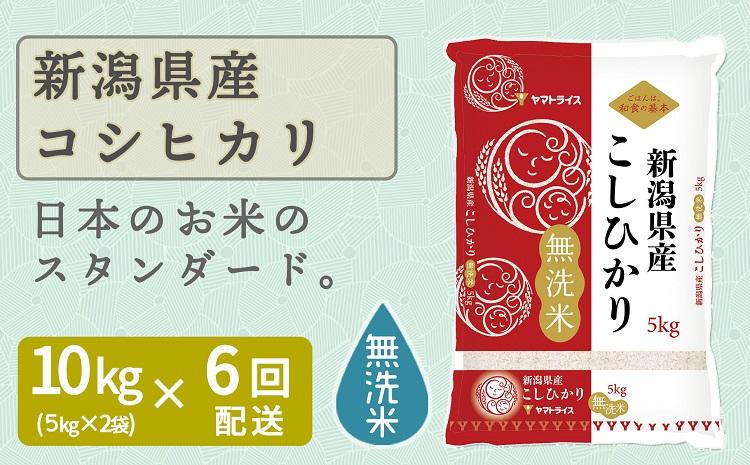 新潟県産コシヒカリ 無洗米 10kg ※定期便6回 下旬発送 安心安全なヤマトライス H074-164