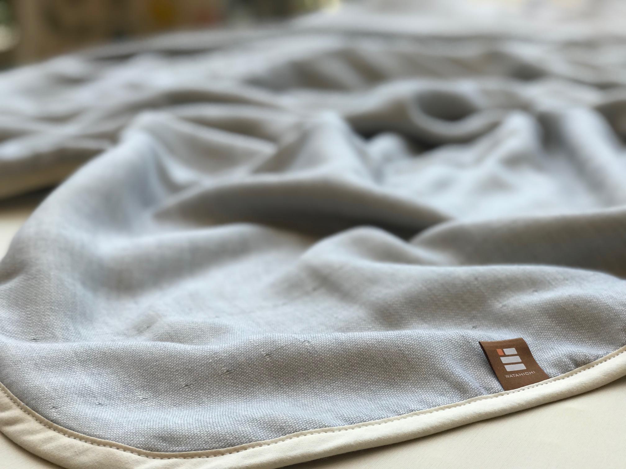 ふっくらやさしい三河木綿の5重ガーゼハーフケット(ブルー)H036-004