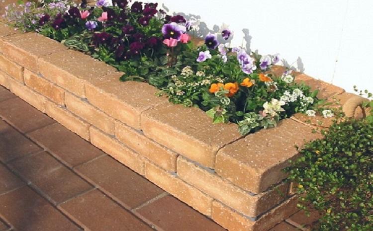 らくらくれんが花壇セット100型アンティーク調 (ベージュ) H032-018