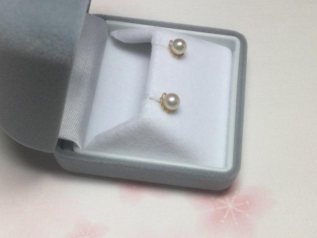 834 K-E1 あこや真珠K18 イエロー系色珠デザインピアス