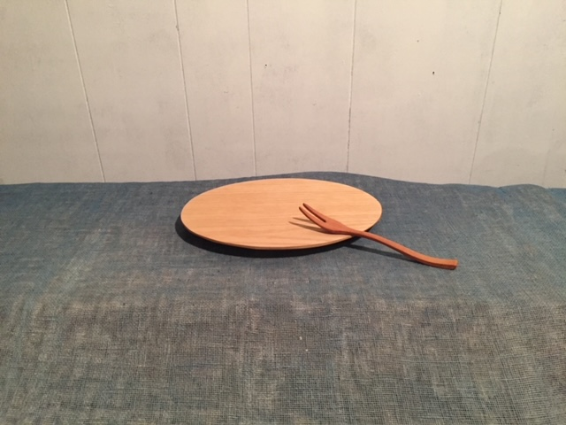 KK‐04 栗のオーバルプレート皿と桜のフォークのセット