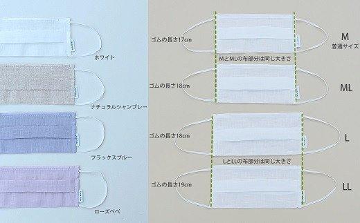AB-36.【4色4サイズから選べる】素肌にやさしいリネンマスク2枚組(M)