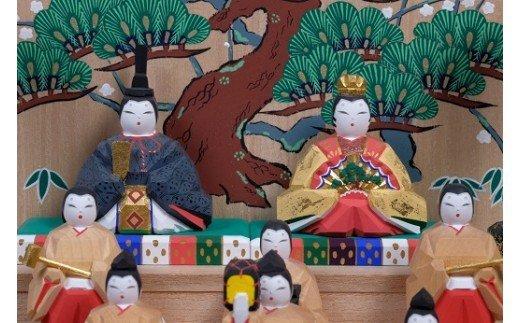 QH-1.【桃の節句のお祝いに】奈良一刀彫 雛人形 段飾り