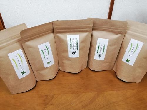 オーガニック 健康 お茶 5種類セット / 有機栽培 大和当帰葉 よもぎ レモン アップル ミント