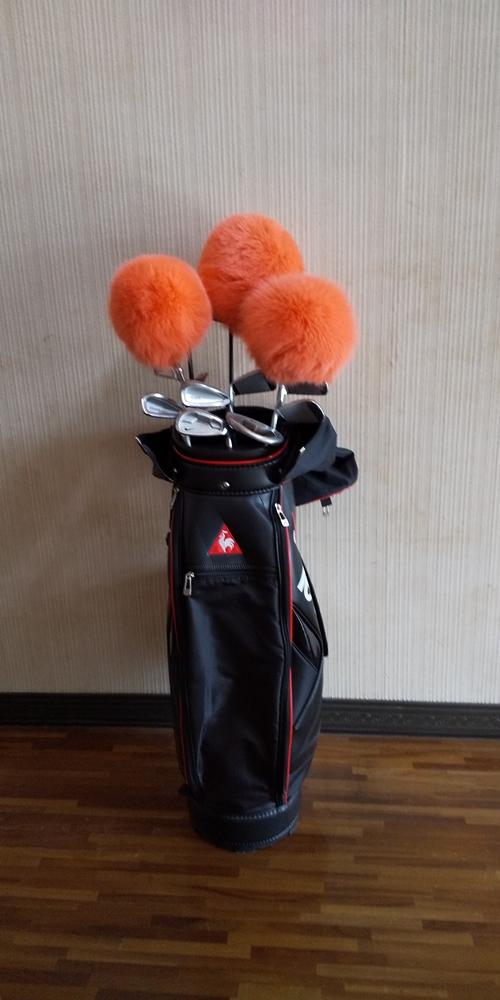 毛皮 ゴルフ ヘッドカバー オレンジ 3本セット(1w・3w・5w)/向本毛皮縫製所 スポーツ用品 ゴルフ用品 特許 意匠 出願縫製技術