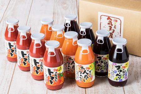 農家の手作りドリンクセット 飲みきりサイズ3種/トマト ブルーベリー トマトジュース 人参 人参ジュース
