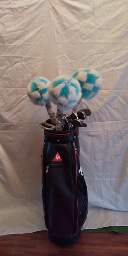 毛皮 ゴルフ ヘッドカバー ブルー×スカイブルー 3本セット(1w・3w・5w)/向本毛皮縫製所 スポーツ用品 ゴルフ用品 特許 意匠 出願縫製技術