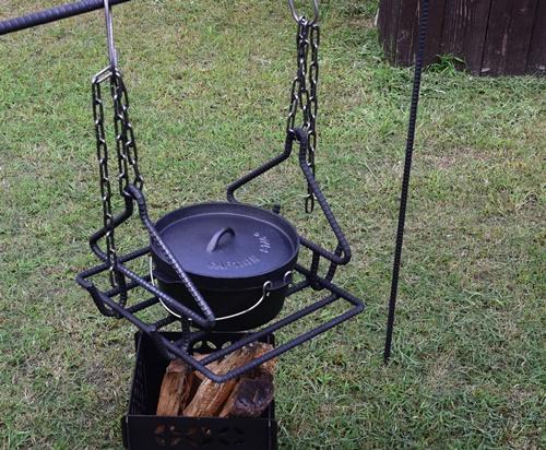 焚火用 トライアングルハンガー(グリルセット)/アウトドアグッズ キャンプ用品 BBQ バーベキュー キャンパー