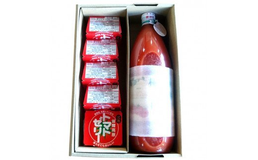 【極濃搾り】曽爾高原特産トマトの無添加100%トマトジュースとゼリーのセット