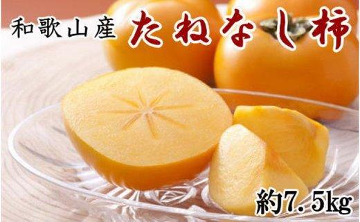 【先行予約】[2021年9月上旬より発送] 和歌山産たねなし柿(M〜2Lサイズおまかせ)約7.5kg