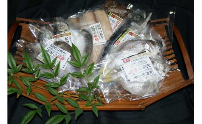 ZD6177_和歌山の近海でとれた新鮮魚の梅塩干物と湯浅醤油みりん干し6品種10尾入りの詰め合わせ