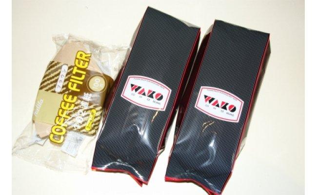 ZD6083_自家焙煎コーヒー豆(キリマンジャロ・モカイルガチェフェ)各300gとカリタ102コーヒーフイルター100枚セット