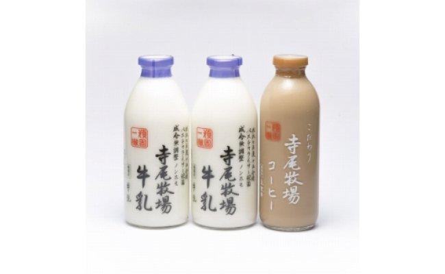ZD6188_寺尾牧場のこだわり濃厚牛乳(ノンホモ牛乳)2本とコーヒー1本セット