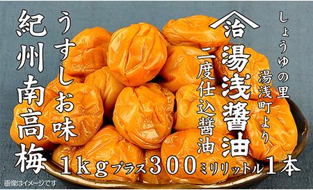 紀州南高梅うすしお味1kgと湯浅醤油1本 美浜町 ※離島への配送不可■