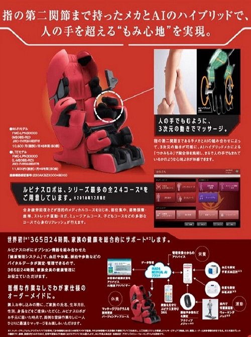 シャア専用ルピナスロボ LTEモデル(大山ブランド会)赤い彗星 ガンダム マッサージチェアー ファミリーイナダ 高島屋 2500-AT6 0604