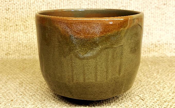 虫明焼 窯変ヘラ目茶盌(黒井千左作)