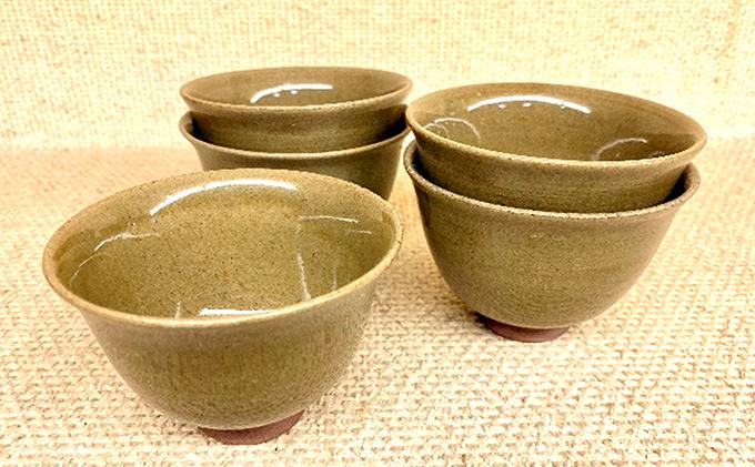 虫明焼 灰釉番茶碗 5客セット(曙窯作)