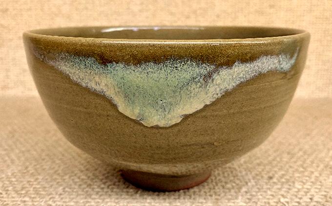 虫明焼 流し釉茶盌(黒井千左作)