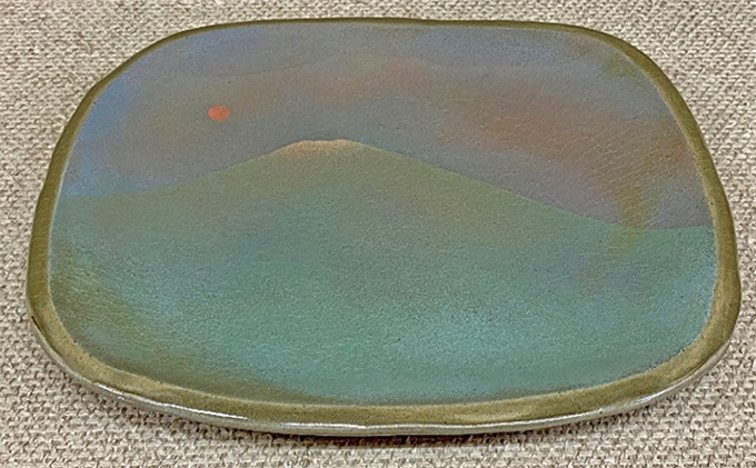 彩色象嵌皿ー富士山ー(岡山県重要無形文化財保持者 黒井千左作)